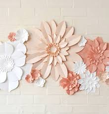 Handmade Three Colour Paper Flower Wall Display