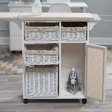 Ironing Board Cabinet With Storage by Deluxe Wood Wicker Ironing Board Center With Baskets Hayneedle