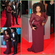 burgundy plus size prom dresses long sleeves v neck lace applique