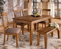 Vintage Casual Dining Set With Wooden Bench