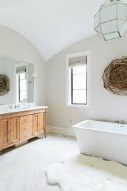 bathroom with porcelain wood like tile floor transitional bathroom