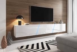 tv lowboard space in weiß hochglanz lack tv unterteil hängend stehend board 240 cm mit led