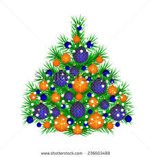 Christmas Tree With Blue And Orange Balls