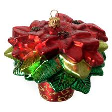 Poinsettia Christmas Tree Decoration Blown Glass 4
