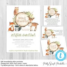 Woodland Baby Shower Invitation Bundle WD02