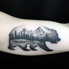 Mens California Bear Nature Woods Landscape Arm Tattoos