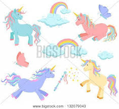 Unicorn Rainbow And Clouds Magic Vector Set Sleeps Rides Standing Cute