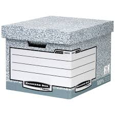 bankers box storage box 36 l white and grey 285 mm x 333 mm x