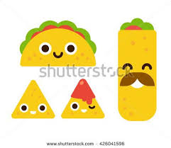 Taco burrito and nachos with salsa in flat cartoon geometric style this stock vector on Shutterstock & find other images