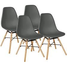 dunkelgrau 4er set skandinavisches retro design modern stühle esszimmerstühle möbel holz stahl kunststoff schale rund für wohnzimmer esszimmer küche