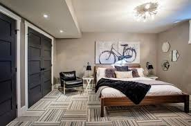 Men s Bedroom With Wooden Bed Frame And Modern Carpet Awesome