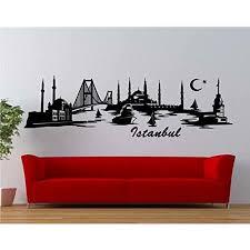 mydruck store wandtattoo istanbul skyline türkei wand aufkleber wohnzimmer stadt 1m062 2 farbe schwarz matt größe länge 140 cm