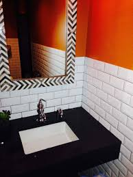 White Subway Tile With Orange Accent Wall And Black Bathroom Counter ... White Tile Bathroom Ideas Pinterest Tile Bathroom Tiles Our Best Subway Ideas Better Homes Gardens And Photos With Marble Grey Grey Subway Tiles Traditional For Small Bathrooms Accent In Shower Fresh Creative Decoration Light Grout Dark Gray Black Vanities Lovable Along All As