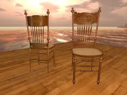 Second Life Marketplace Antique Kitchen Chair pressed oak