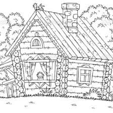 Log House Coloring Page Kids Drawing And Pages Marisa