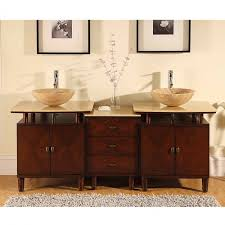 46 Inch Double Sink Bathroom Vanity by 73 Inch Double Vessel Sink Bathroom Vanity With Travertine Uvsr0808t73
