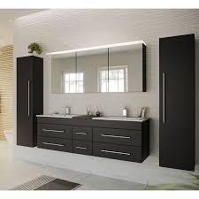badezimmer spiegelschrank 140cm newland 02 inkl led acrylle leuchtboden seidenglanz schwarz b h t 140 63 5 17 22 cm