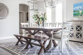This Contemporary Dining Room Has A Little Bit Of Country With Its Lantern Style Light Fixtures And Farmhouse Bench