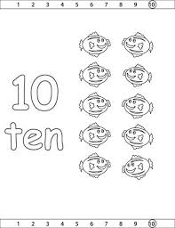 Learn Number 10 With Ten Pufffer Fish Coloring Page
