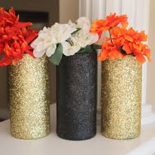 Gold And Black Centerpieces Vases Wedding Decor