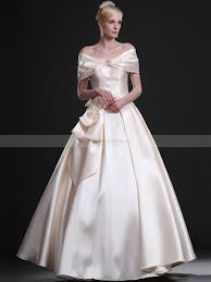 Portrait Neck Full Taffeta Ball Gown With Decorative Bows