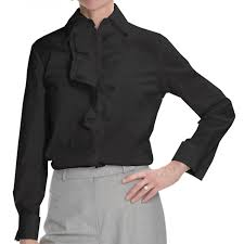 fashion trends banded collar long sleeves ruffle women black