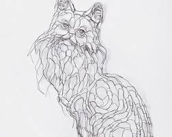 Fluffy Maine Coon Cat 24in 2D Wire Wall Art By Elizabeth Berrien