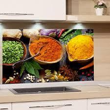 details zu küchenrückwand glas gewürze orientalisch rot gelb spritzschutz herd spüle küche