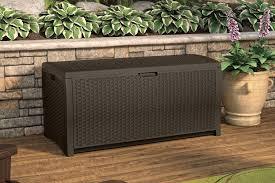 Suncast 50 Gallon Deck Boxstorage Bench by Patio Deck Box Outdoor Garden Storage Box Trunk Resin Wicker