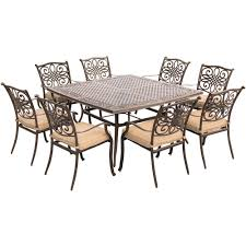 Hanover Traditions 9 Piece Aluminium Square Patio Dining Set With Eight Stationary Chairs And