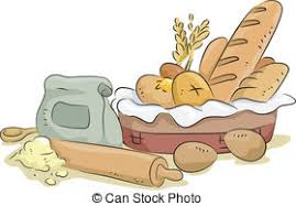 Bread and Baking Materials and Ingre nts Illustration of