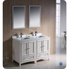 Home Depot Two Sink Vanity by Fresca Oxford 48 Inch Antique White Traditional Double Sink
