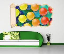 3d wandtattoo tapete 3d effekt bälle farbig bunt muster durchbruch selbstklebend wandbild wandsticker wohnzimmer wand aufkleber 11o1333