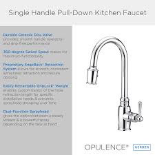 opulence single handle pull kitchen faucet