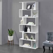 en casa bücherregal oxford design hängeregal mit 6 ablagen raumteiler 192x80x24cm weiß