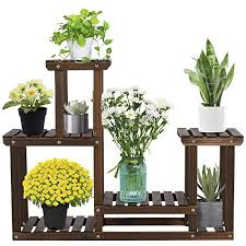 yaheetech 4 tier flower stand multi layer display plant stand racks with garden wooden shelving balcony decoration flower stand with wheels solid