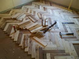 Herringbone Pallet Wood Floor Almost Done