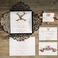Black Laser Cut Deer Rustic Wedding Invitation With Suede Ribbon EWWS094 4