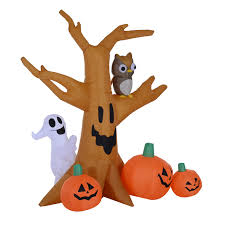 Outdoor Halloween Decorations Uk by Homcom Halloween Inflatable Tree W Pumpkins Led Lights Aosom Co Uk