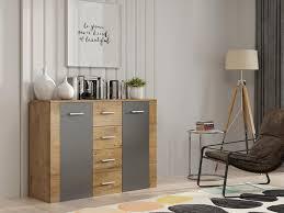 mirjan24 kommode ii stilvoll sideboard mit vier schubladen und türen wohnzimmer farbe artisan grau