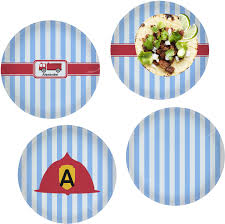 100 Fire Truck Plates Truck Set Of 4 Glass Lunch Dinner Plate 10 Personalized