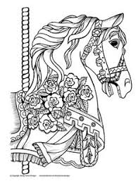 Adult Coloring Pages Sheets Books Colouring Carousel Horses Color Fashion Wood Burning Copic Diy Stuff