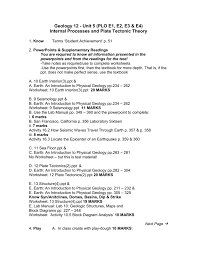Sea Floor Spreading Model Worksheet Answers by Unit5 Internalprocesses Plo E S April30