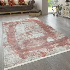 kurzflor teppich used look gemälde design rot beige
