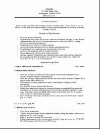 Warehouse Resume Format Worker Occupational Examples