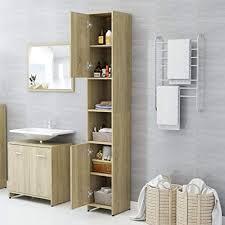 vidaxl badezimmerschrank mit 6 fächern 2 türen badschrank