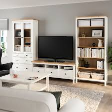 hemnes tv storage combination white stain light brown clear glass 326x197 cm