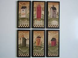 amazon com outhouse bathroom plaques 6 piece set rustic country