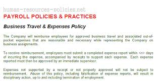 Setoffs Policy Business Travel Expenses