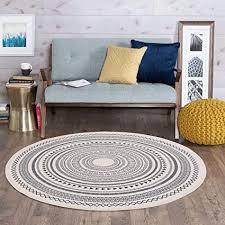 shacos vintage teppich marokko grau teppich mit quasten waschbare teppiche rund 120cm baumwollteppich wohnzimmer schlafzimmer